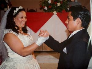 Foto de su boda en Brasil.