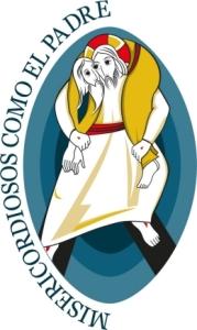 El logo y el lema ofrecen juntos una buena síntesis del Año jubilar. Con el lema Misericordiosos como el Padre (tomado del Evangelio de Lucas, 6,36) se propone vivir la misericordia siguiendo el ejemplo del Padre, que pide no juzgar y no condenar, sino perdonar y amar sin medida (cfr. Lc 6,37-38).